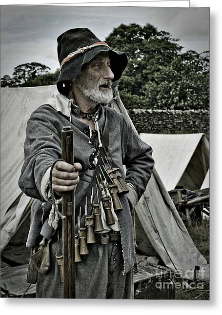 British Portraits Greeting Cards - English Civil War Actor 1 Greeting Card by Linsey Williams