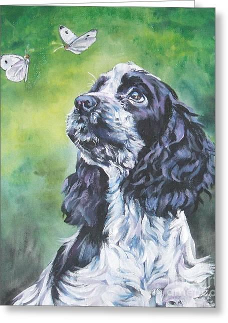 Dog Portraits Greeting Cards - English Cocker Spaniel  Greeting Card by Lee Ann Shepard