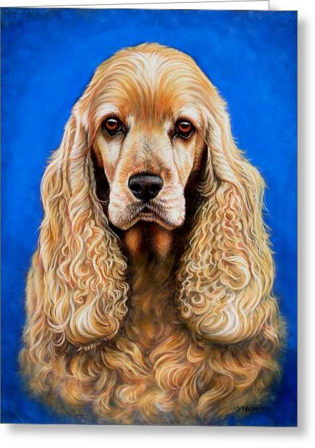 Spaniel Pastels Greeting Cards - English Cocker Spaniel Greeting Card by Yvonne Hazelton