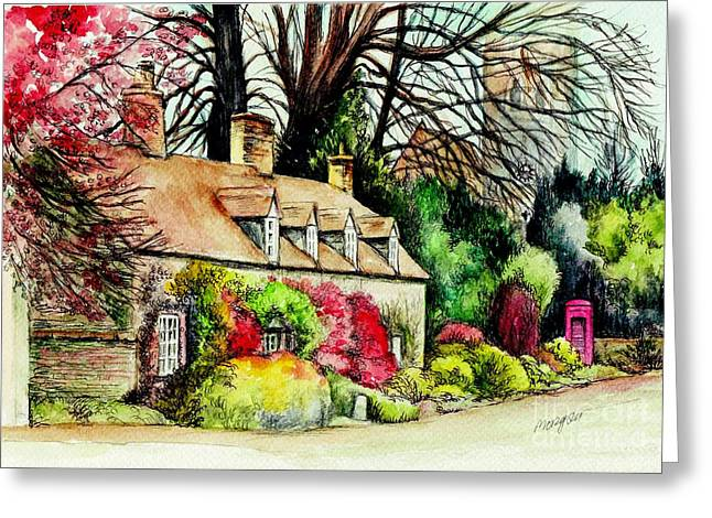 Country Cottage Mixed Media Greeting Cards - English Country Cottage Greeting Card by Morgan Fitzsimons