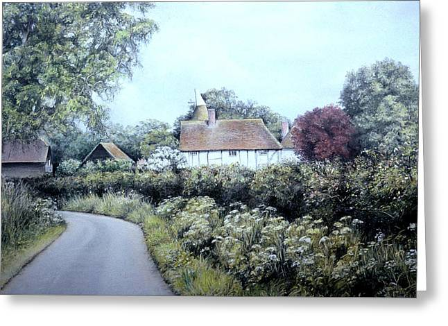 Serene Pastels Greeting Cards - English Country Lane Greeting Card by Rosemary Colyer