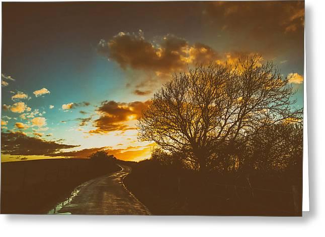 Analog Greeting Cards - English Countryside At Sunset Greeting Card by Roman Grac