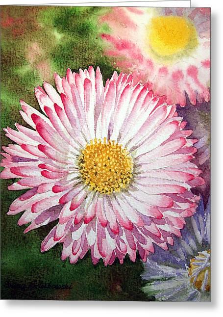 Lawn Greeting Cards - English Daisies  Greeting Card by Irina Sztukowski