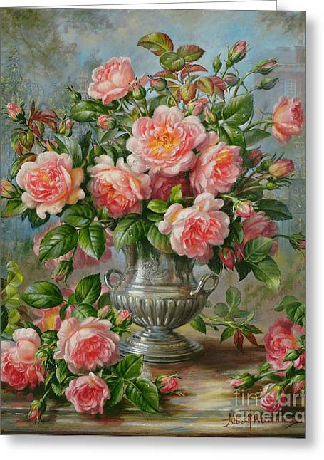 Elegance Greeting Cards - English Elegance Roses in a Silver Vase Greeting Card by Albert Williams