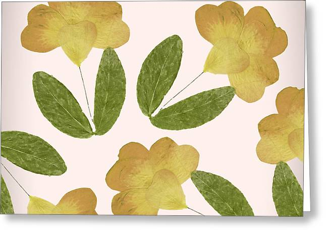English Garden Pressed Yellow Rose Pattern Greeting Card by Mindy Sommers