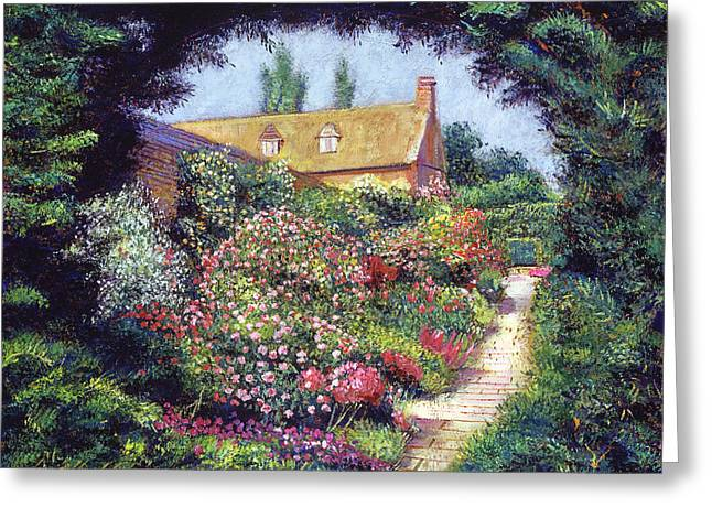 Country Cottage Paintings Greeting Cards - English Garden Stroll Greeting Card by David Lloyd Glover