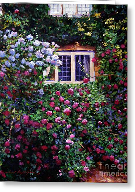 Rose Bushes Greeting Cards - English Manor House Roses Greeting Card by David Lloyd Glover