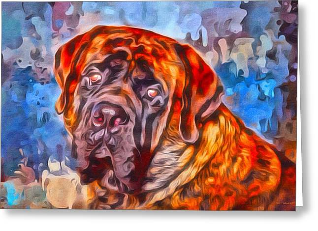 Digital Designs Greeting Cards - English Mastiff Portrait 2 Greeting Card by Scott Wallace