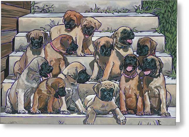 English Mastiff Puppies Greeting Card by Nadi Spencer