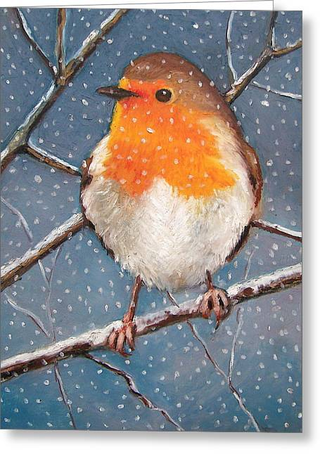 Joyce Geleynse Greeting Cards - English Robin in Snow Greeting Card by Joyce Geleynse