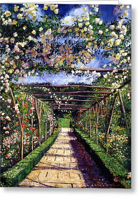 Trellis Paintings Greeting Cards - English Rose Trellis Greeting Card by David Lloyd Glover
