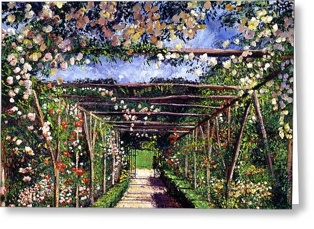 English Rose Trellis Greeting Card by David Lloyd Glover