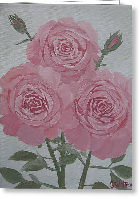 English Roses For Mother Greeting Card by Sarah Wittmer