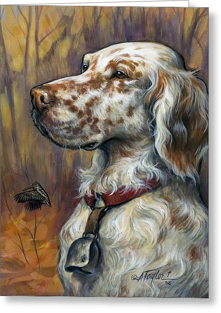 Woodcock Greeting Cards - English Setter Greeting Card by Alice Taylor