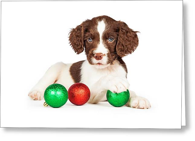 English Springer Spaniel Puppy With Christmas Baubles Greeting Card by Susan Schmitz