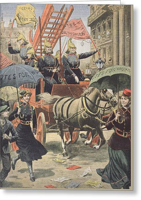 Umbrella Drawings Greeting Cards - English suffragettes dressed as firemen Greeting Card by French School