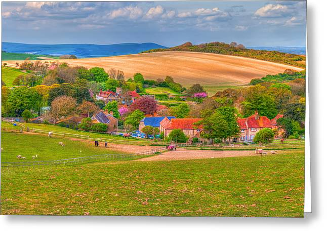 Commercial Photography Greeting Cards - English Village In Spring Time Greeting Card by Susan Dost