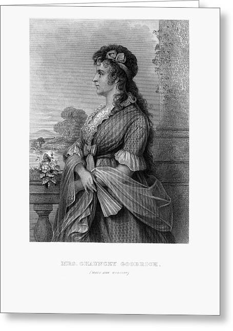 Engraved Portrait Of Mrs. Chauncey Goodrich, Mary Wolcott, Circa 1790 Greeting Card by Peacock Graphics