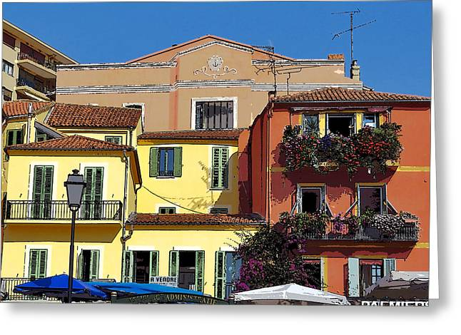 Villefranche Greeting Cards - Enhanced Colors of Villefranche Greeting Card by LeeAnn White