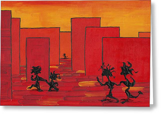 Enjoy Dancing In Red Town P1 Greeting Card by Manuel Sueess