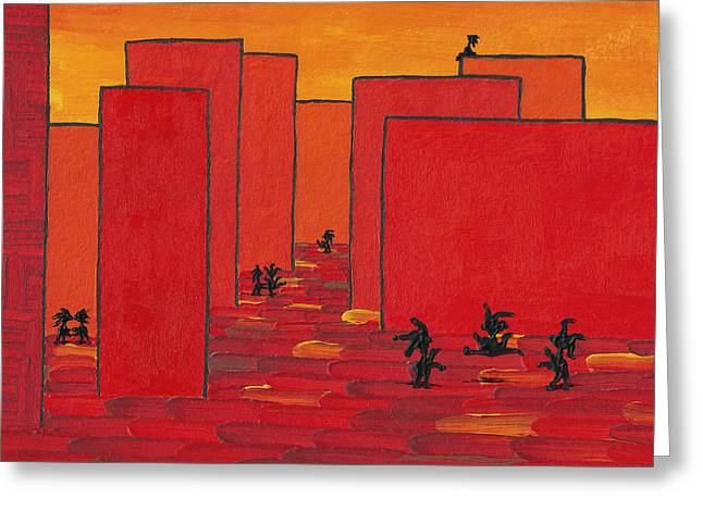 Enjoy Dancing In Red Town P2 Greeting Card by Manuel Sueess