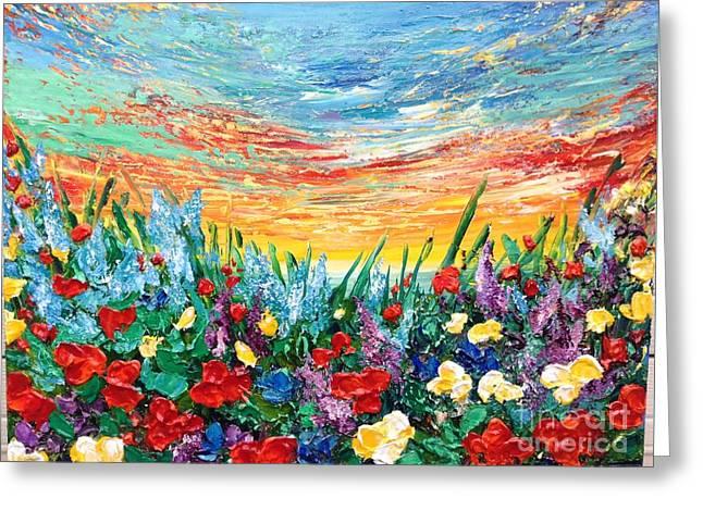 Sunset Abstract Greeting Cards - Enjoy It Greeting Card by Teresa Wegrzyn