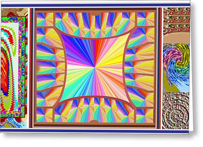 Souls Greeting Cards - Enjoy n Share the Joy 3in1 Graphic Popular FineArt Horizontal Collage Greeting Card by Navin Joshi