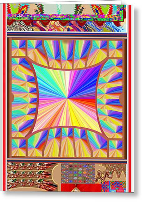 Souls Greeting Cards - Enjoy n Share the Joy 3in1 Graphic Popular FineArt Vertical Collage Greeting Card by Navin Joshi