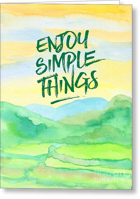 Enjoy Simple Things Rice Paddies Watercolor Painting Greeting Card by Beverly Claire Kaiya