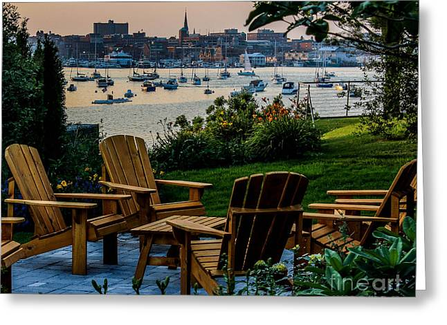 Village By The Sea Greeting Cards - Enjoying the Portland View Greeting Card by Joe Far Photos
