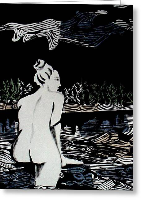Lino Print Mixed Media Greeting Cards - Enjoying The View Greeting Card by Patricia Bigelow