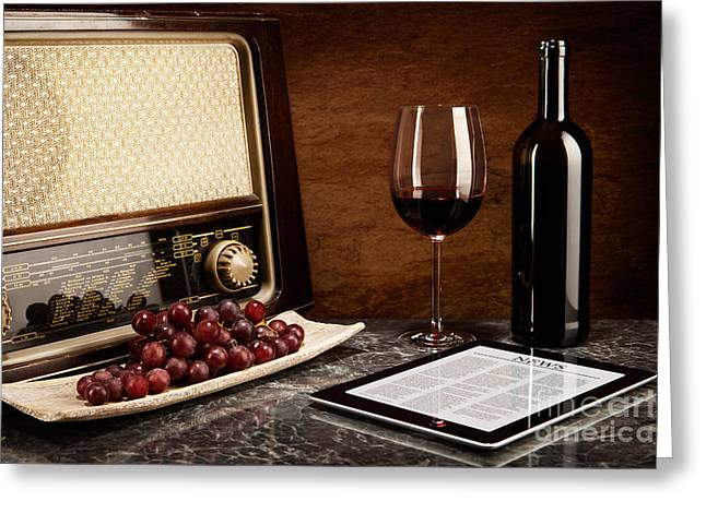 Lifestyle Greeting Cards - Enjoying wine with old music and modern technology Greeting Card by Wolfgang Steiner