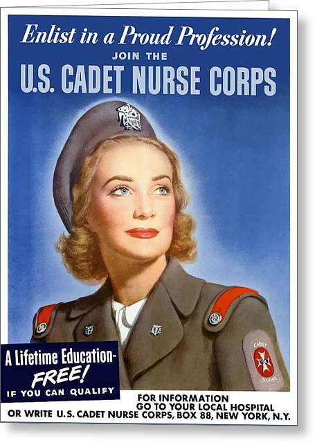Enlist In A Proud Profession - Join The Us Cadet Nurse Corps Greeting Card by War Is Hell Store