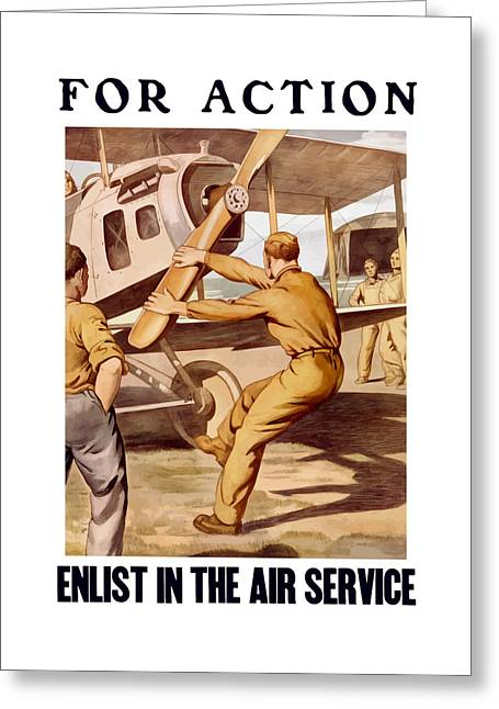 Vintage Air Planes Greeting Cards - Enlist In The Air Service Greeting Card by War Is Hell Store