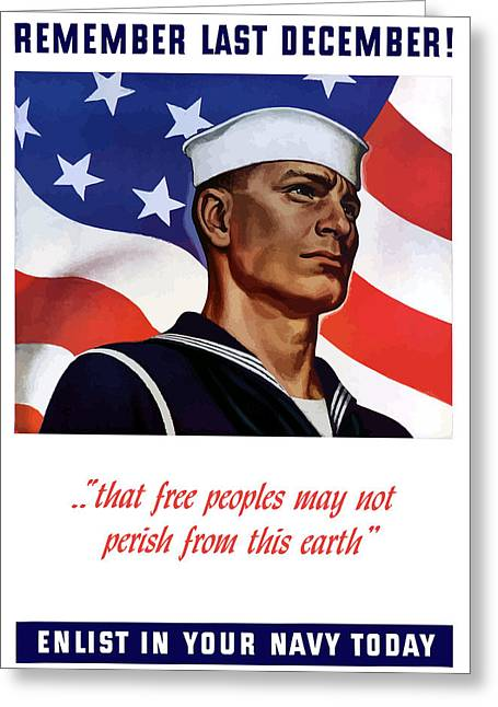 United States Greeting Cards - Enlist In Your Navy Today - WW2 Greeting Card by War Is Hell Store