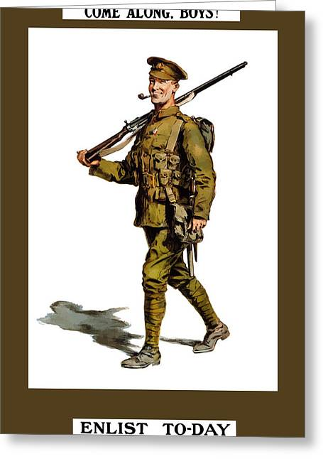 Ww1 Greeting Cards - Enlist To-Day Greeting Card by War Is Hell Store