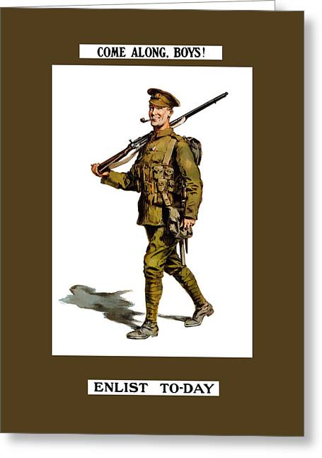 British Propaganda Greeting Cards - Enlist To-Day - World War 1 Greeting Card by War Is Hell Store