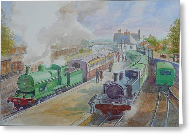 Narrow Gauge Steam Train Greeting Cards - Ennis Train Station circa1930 Greeting Card by Tomas OMaoldomhnaigh