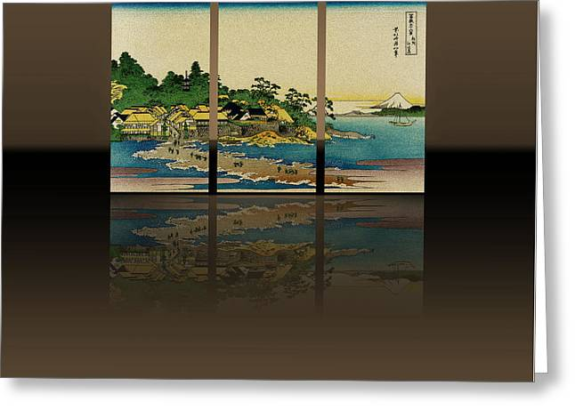 Decor Reliefs Greeting Cards - Enoshima in Sagami Province - Triptych Reflections Greeting Card by Just Eclectic