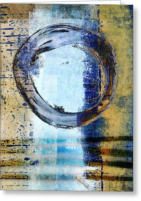 Greeting Cards - Enso Circle in Glass Greeting Card by Carol Leigh