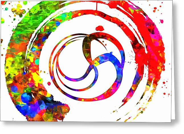 Enso Greeting Cards - Enso Colorful Paint Circle Greeting Card by Dan Sproul