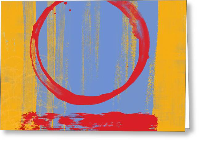 Blues Art Greeting Cards - Enso Greeting Card by Julie Niemela