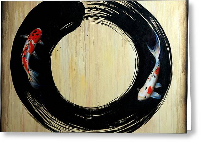 Enso With Koi Greeting Card by Sandi Baker