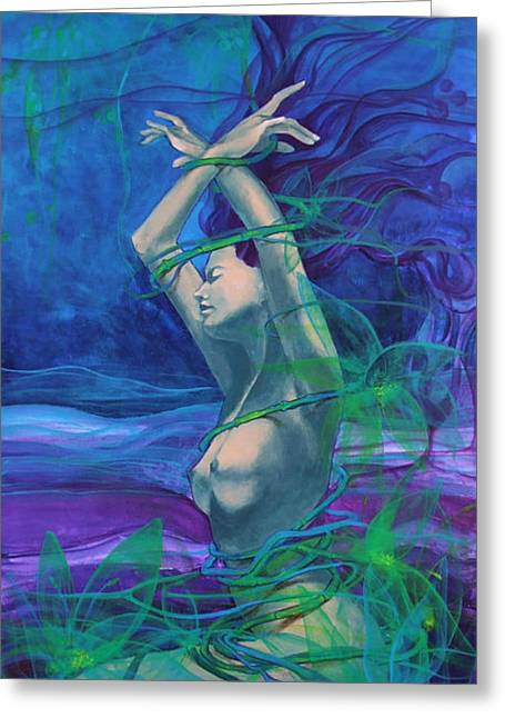 Live Paintings Greeting Cards - Entangled in your love... Greeting Card by Dorina  Costras