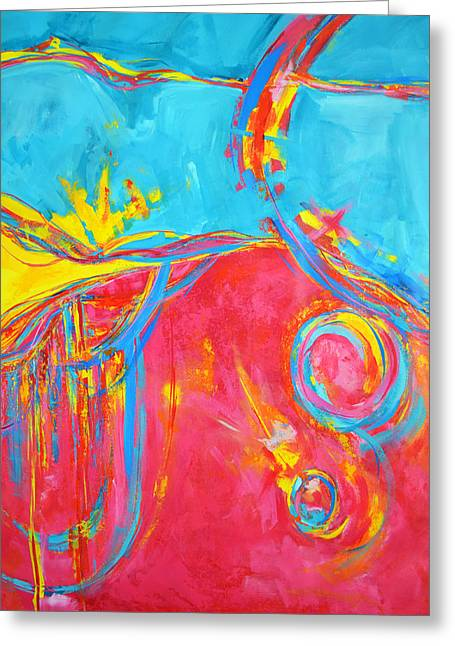 Energetic Art Greeting Cards - Entangled No 5 Center Greeting Card by Patricia Awapara