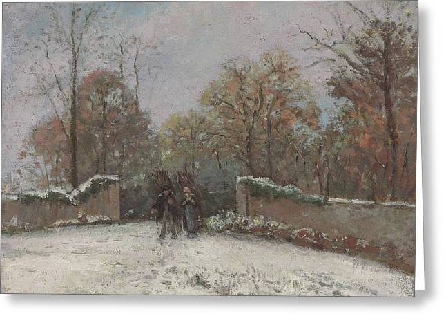Camille Pissarro Greeting Cards - Entering the Forest of Marly Greeting Card by Camille Pissarro
