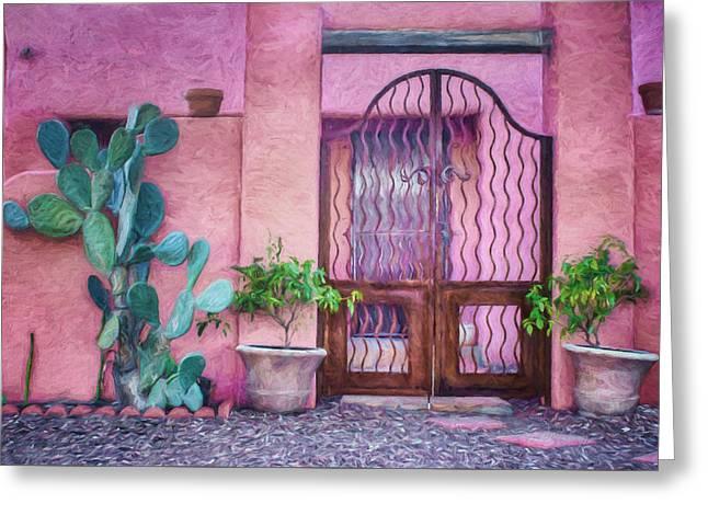 Entrance Door Greeting Cards - Entrada - Barrio Historico - Tucson Greeting Card by Nikolyn McDonald