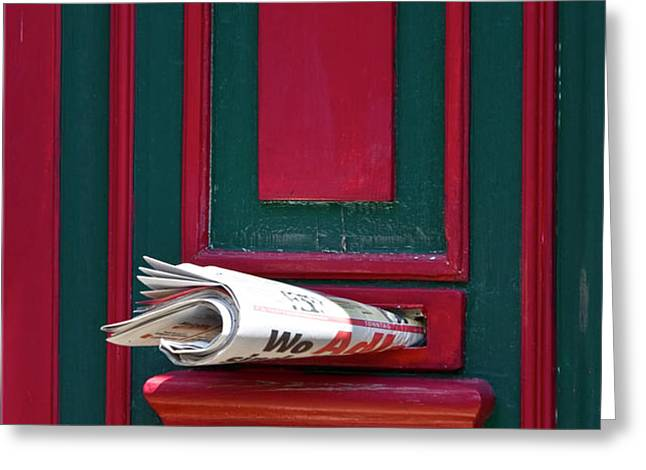 Entrance door and newspaper Greeting Card by Heiko Koehrer-Wagner