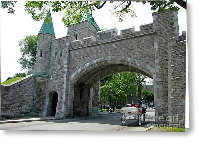 Hansom Cab Greeting Cards - Entrance Gate in Old Quebec with Hansom Cab Greeting Card by John Malone