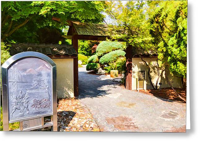 Tourism Greeting Cards - Entrance gate of the Japanese garden 3 Greeting Card by Lanjee Chee